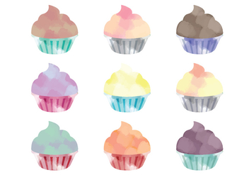 Vector Watercolor Cupcakes - vector gratuit #358465