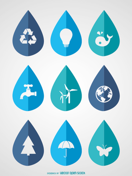 World Water Day - 9 ecological icons in drops - vector #358475 gratis