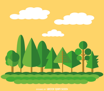9 flat green trees - Free vector #358485