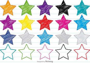 Colorful Scribble Style Star Set - Kostenloses vector #358565
