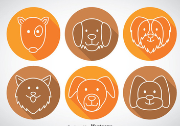 Dogs Long Shadow Icons - vector gratuit #358595