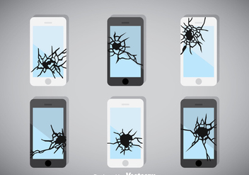 Broken Screen Phone Vector - vector gratuit #358655