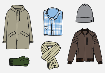 Winter Men Clothes Vectors - Free vector #358665