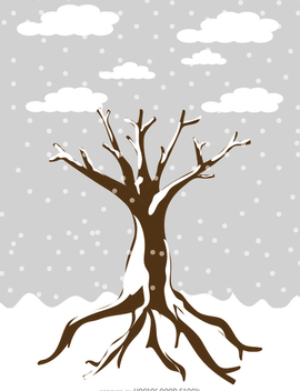 Snowy tree in cartoon style - Free vector #358735