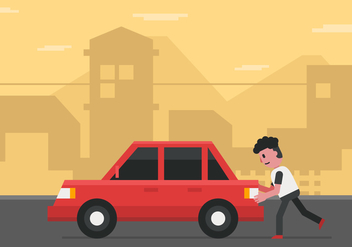 Vector Man Pushing Car - vector #358825 gratis