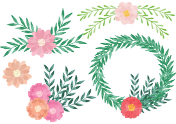 Vector Watercolor Wreaths - vector gratuit #359235