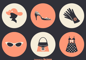 Free Ladies Fashion Vector Icons - Free vector #359345