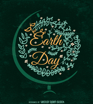 Ornamented Earth Day design with globe bracket - vector gratuit #359415