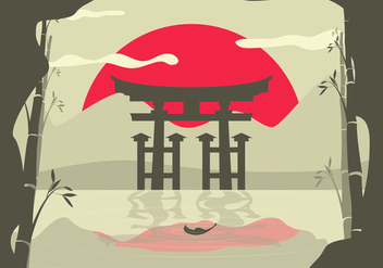 Torii Asian Landscape Background - бесплатный vector #359455