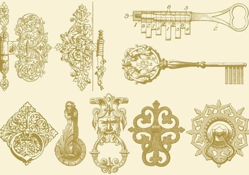 Hinges Keys And Knocker - Free vector #359505
