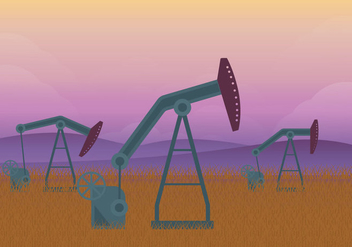 Oil Field Dawn Illustration - Free vector #359615
