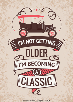 Car vintage poster with message - vector gratuit #359685