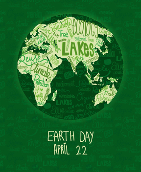 Earth Day poster with written world map - vector gratuit #359705