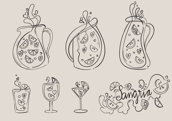 Hand Drawn Sangria Vector Set - Free vector #359825