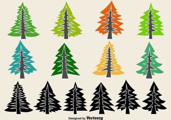 Flat Pine Vector Icons - vector gratuit #359995