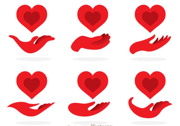 Red Hand Donate Icons - vector #360025 gratis