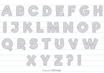 Grey Scribble Style Alphabet Set - vector #360085 gratis