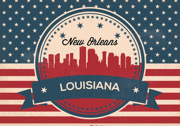 New Orleans Retro Skyline Illustration - Free vector #360155
