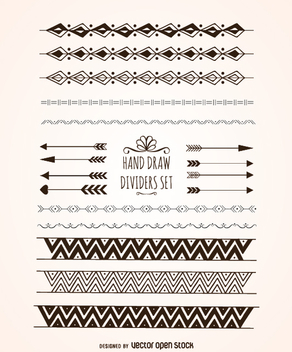 Elegant hand drawn dividers - vector gratuit #360535