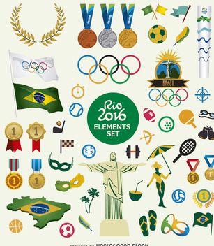 Rio 2016 element set - vector #360735 gratis