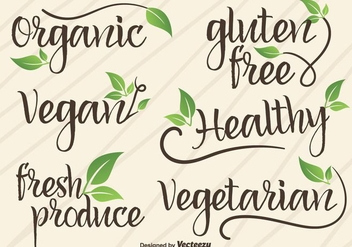 Vector Hand Written Signs/Logotypes Of Vegan And Organic Food - vector gratuit #360795