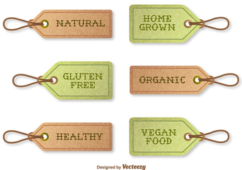 Vector Textured Tags Indicating Organic Food - vector gratuit #360805