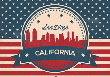 Retro San Diego Skyline Illustration - vector gratuit #360955