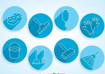 Home Cleaning Circle Icons - vector gratuit #361075