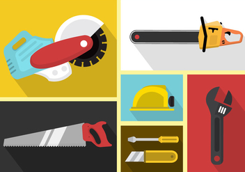 Set Of Vector Icons Of Working Tools - vector gratuit #361095