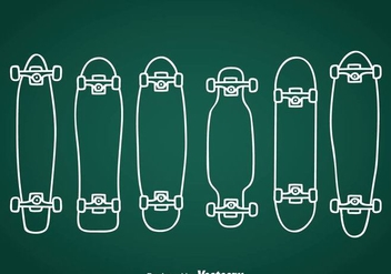 Longboard Hand Drawn Icons - Kostenloses vector #361175