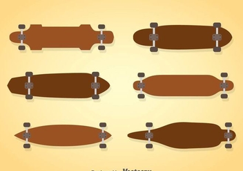 Wood Longboard Vector Sets - Kostenloses vector #361185