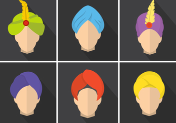 Colorful Flat Vector Turbans - vector gratuit #361205