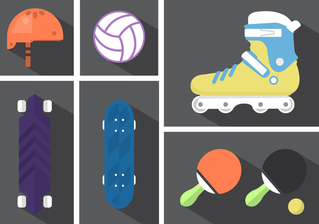 Longboard With Rollerblade And Other Sport Elements - vector gratuit #361225