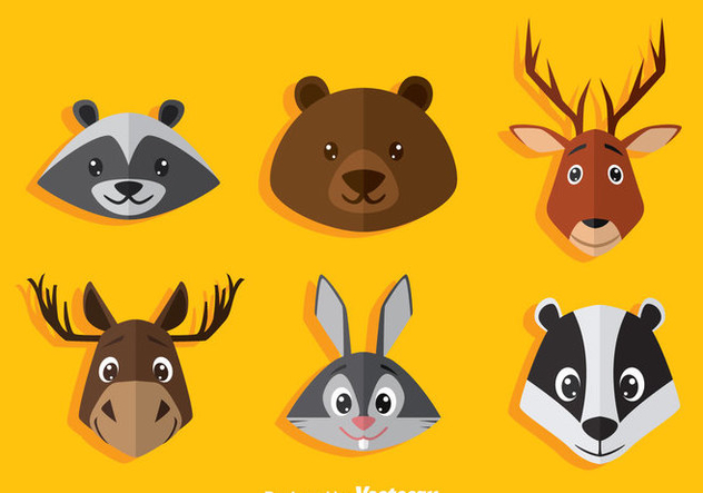 Cartoon Animal Head Icons Vector - бесплатный vector #361255