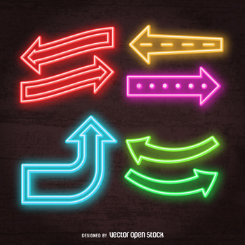 Bright neon arrows set - vector gratuit #361335