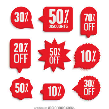 Red sale labels set - бесплатный vector #361425