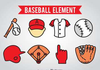 Baseball Element Icons Vector - бесплатный vector #361615