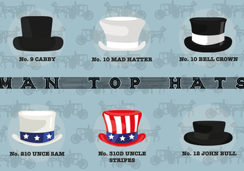 Free Man Top Hats Vector - бесплатный vector #361665