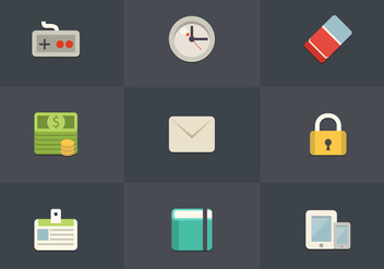 Free Flat Icon Set 08 Vector - бесплатный vector #361975
