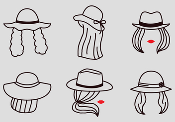 Vector Outline Women with Hats - бесплатный vector #362145