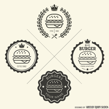 Set of fast food emblems - vector gratuit #362235