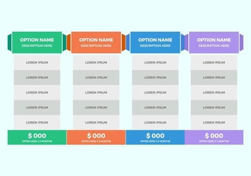 Free Pricing Table Vector - Kostenloses vector #362735