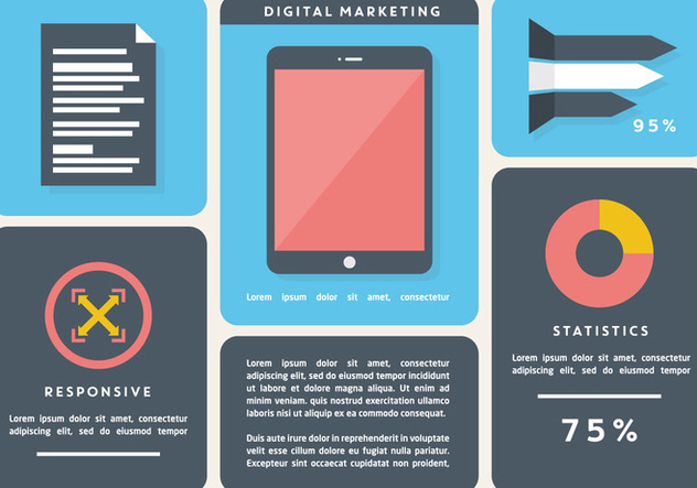 Free Flat Digital Marketing Vector Background with Touch Screen Tablet - Free vector #362805