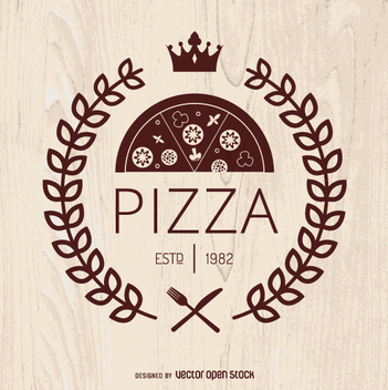 Pizza emblem with laurel wreath - бесплатный vector #362815