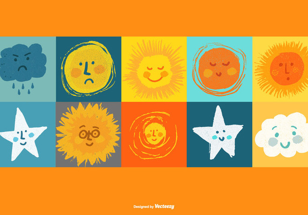 Sun Moon Star Clouds Vectors - Kostenloses vector #362885