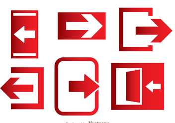 Emergency Exit Direction Icons - Free vector #362905