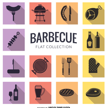 Barbecue flat icon set - vector gratuit #362965