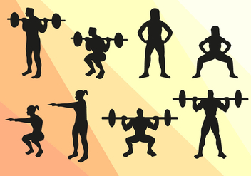 Squat Sport Silhouettes Vector - Free vector #363035