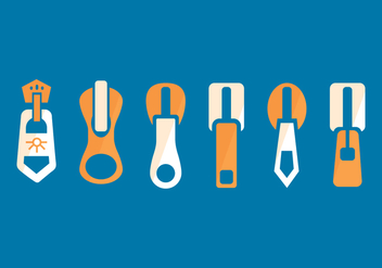 Zipper Pull Flat Set - vector gratuit #363095