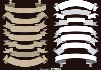 Vector Brown and White Ribbons Collection - Free vector #363215